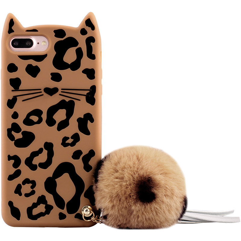 New Design Hairball Tassel Leopard Soft Rubber Case for iPhone 6s/7/8 Plus Mobile Cover
