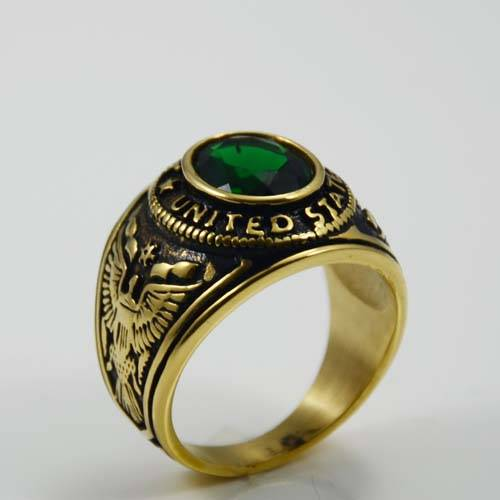 Good looking fashion jewelry custom stainless steel gemstone ring