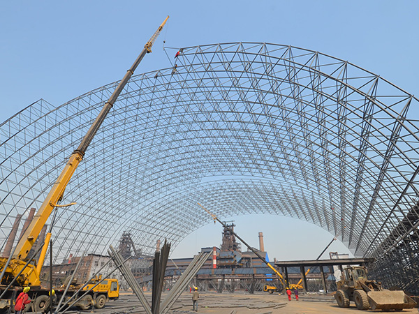 Light Steel Space Frame Metal Roof Coal Storage For Dry Coal Shed
