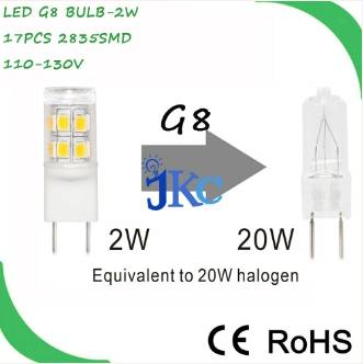 LED G8 Bulb 2W 17pcs 2835SMD 360 Degree 20W Replacement g8 led bulb 120v