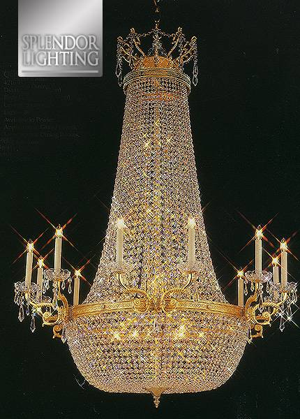 3.7Ft Long Gold Plated Empire Style Basket Crystal Chandelier