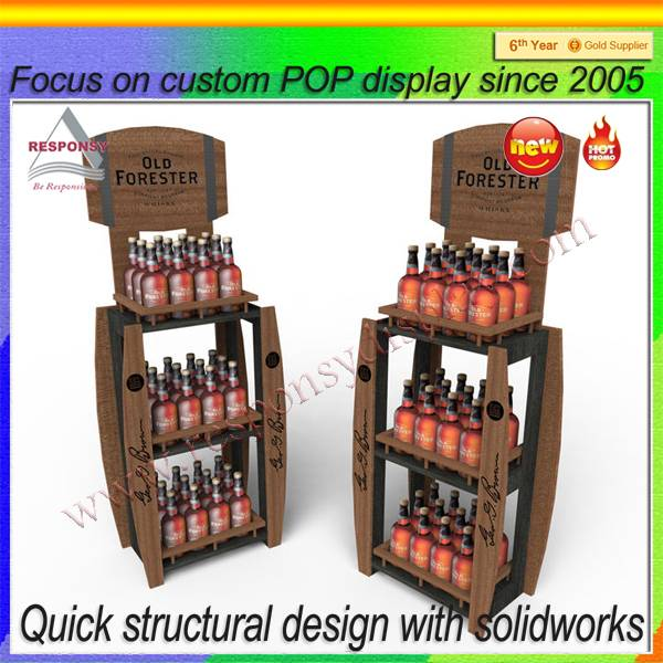 Wooden retail display stand for beers/wines