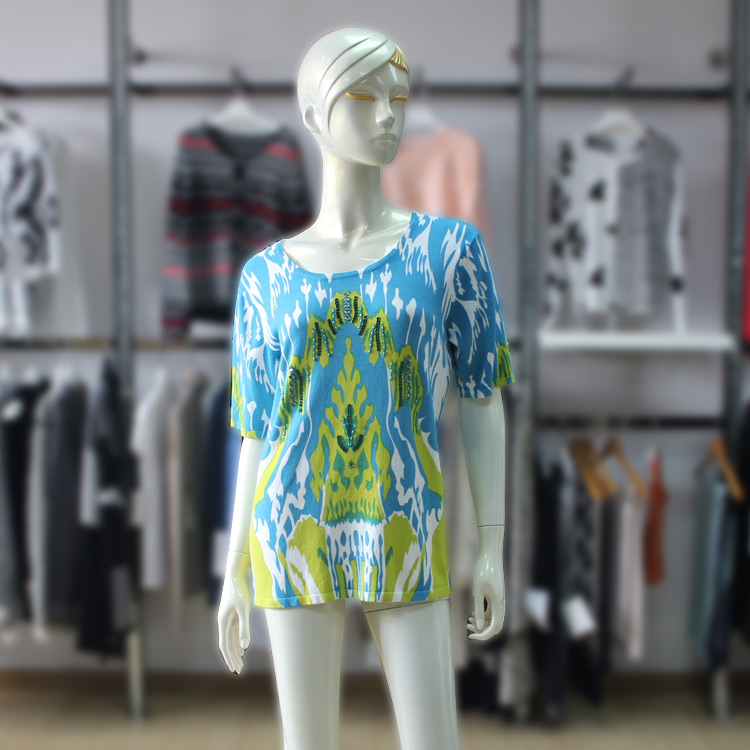 Summer Bright Printing Sweater All Over Printing Half-sleeve Bead T-shirt