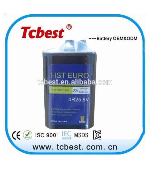 carbon zinc battery 6v 4R25 Nominal Capacity 620mins