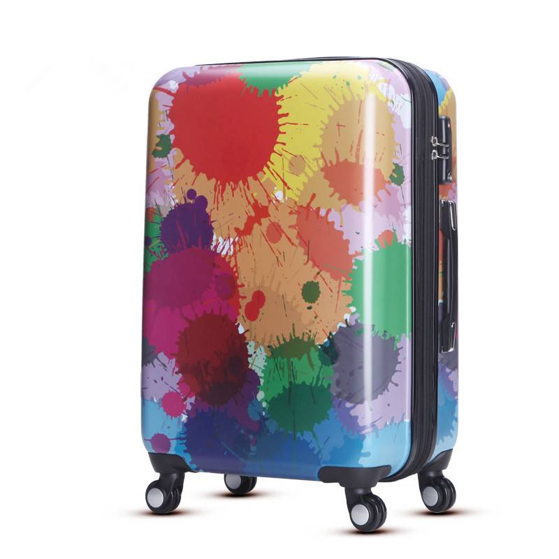 personalized luggage with fashion printed rainbow pattern