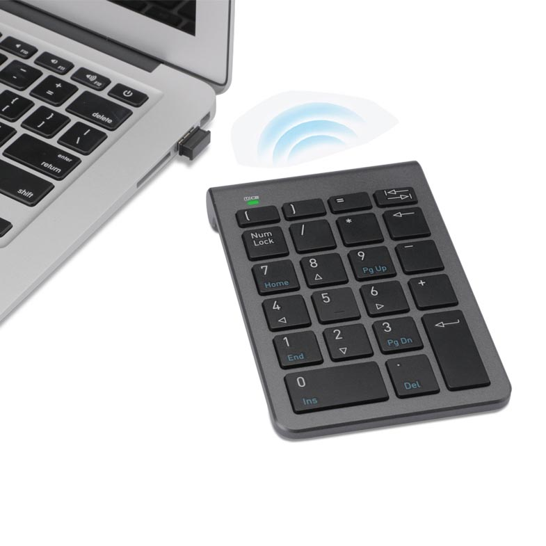 Wireless Numeric Keypad, 2.4G 22-Key USB Financial Numpad for Laptop Tablet Desktop PC with HUB port