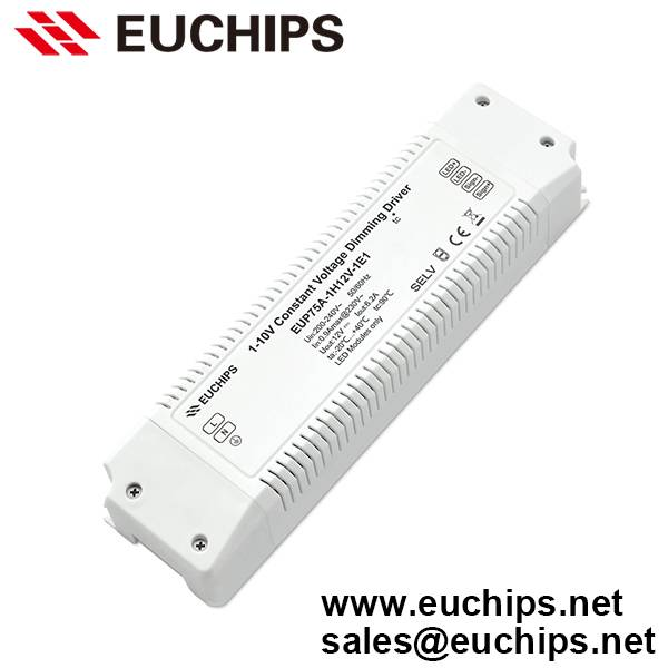 200-240VAC 75W 1 channel 1-10V constant voltage dimmable led driver EUP75A-1H12V-1E1