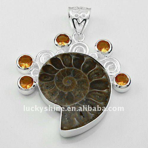 wholesale jewelry 925 sterling silver plated ammomite silver pendant