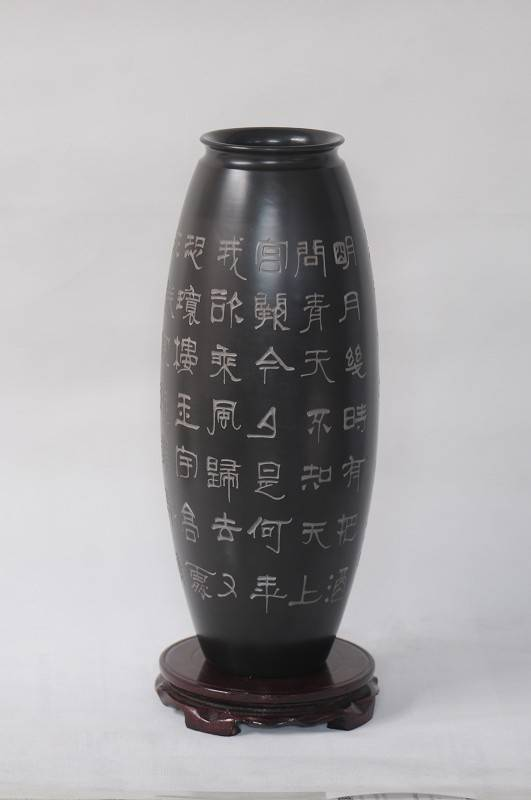Shandong Longshan black pottery ceramic pottery vase retro ornaments, handicraft, calligraphy bottle