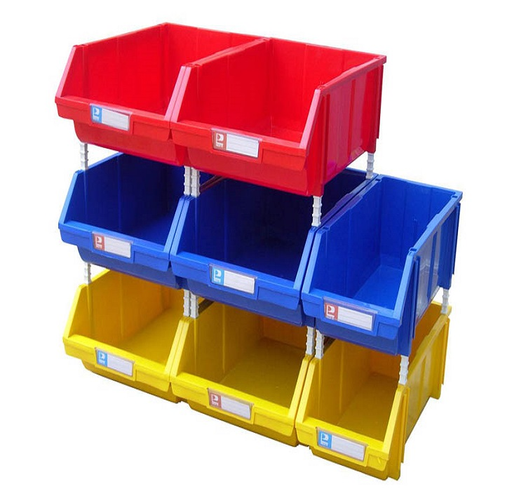 Stackable plastic storage box used for spare parts