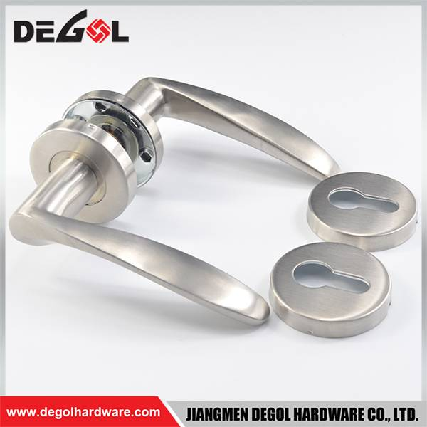 China supplier stainless steel solid lever type l shape handle with oval rosettes and escutcheons