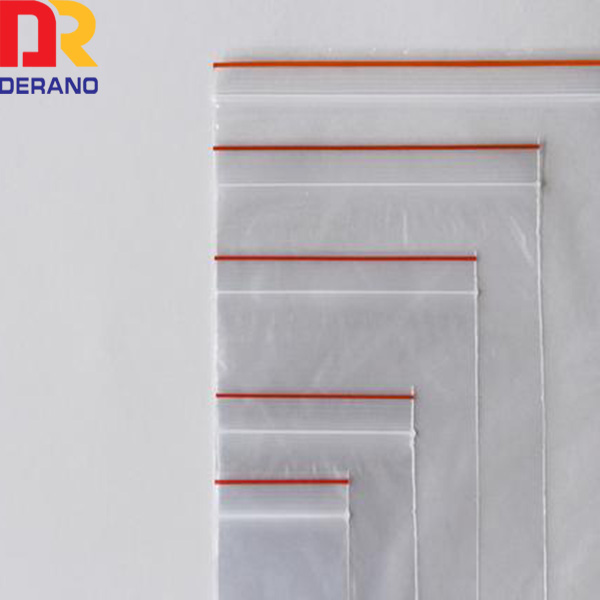 small transparent zipper bag/clear zip lock bag with red line