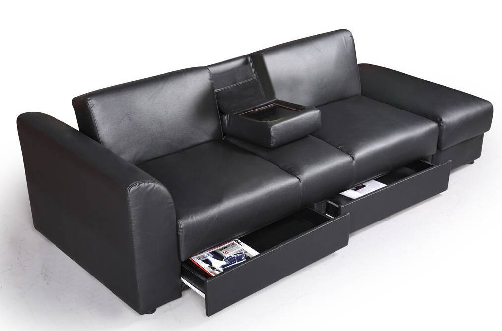 ST-299 PU leather sofa bed with 2 drawers