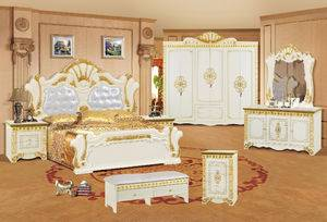 French luxury solid bed room furniture sets