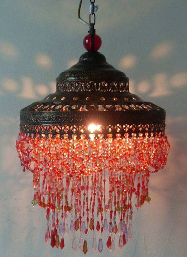 antique shade with colouful beads chandeliers