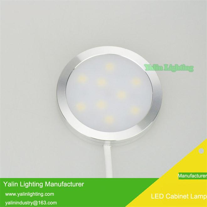 12V superthin round LED cabinet light kit, super slim caravan wardrobe disc lamp with splitter