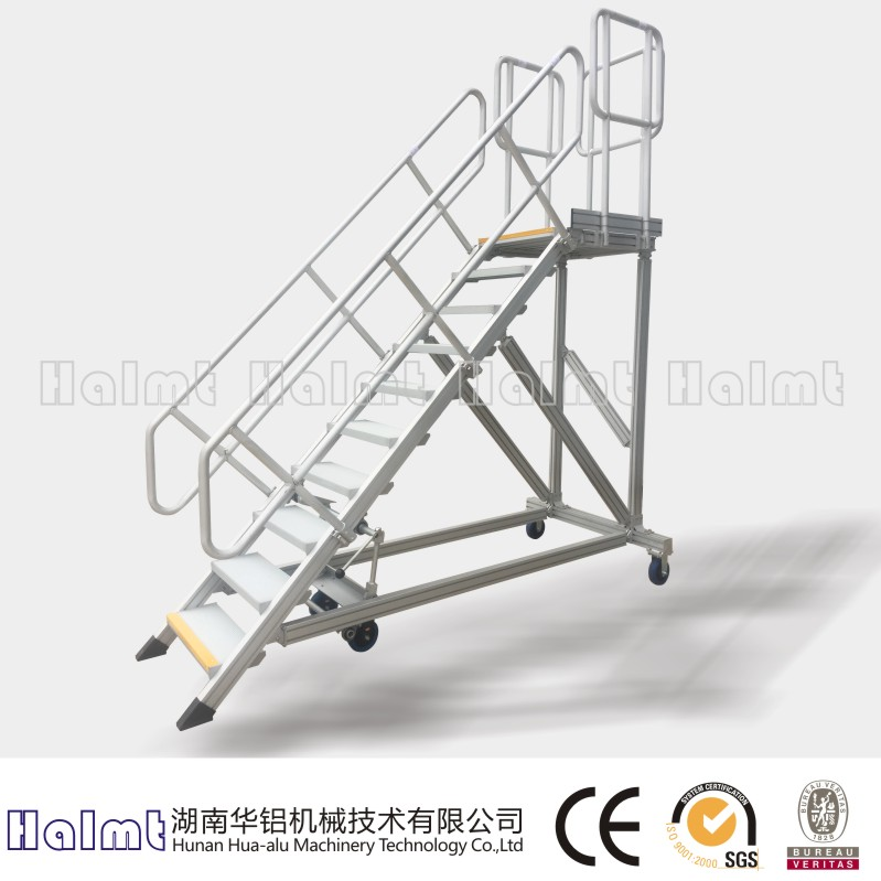 Mobile Industrial Aluminum Platform Ladders with handrail