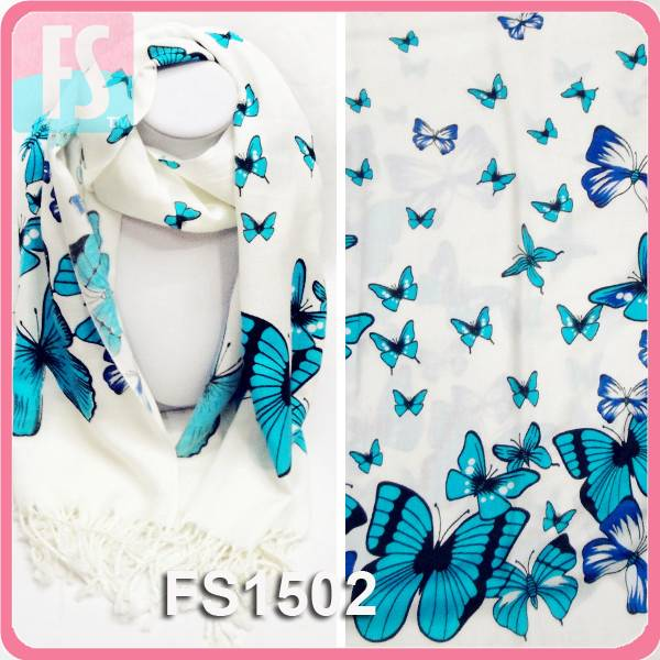 Cheap 100% acrylic butterfly printed lady pashmina scarf