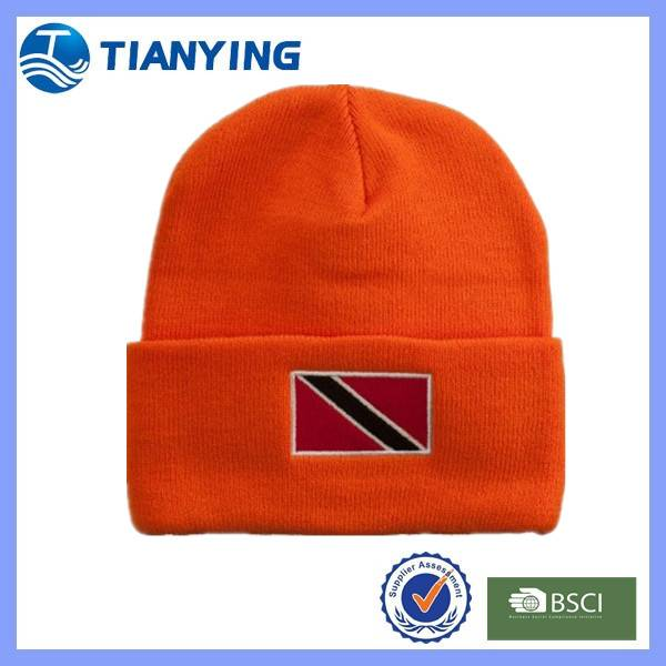 Tianying Red Cuff Hemming Stitch Winter Knit Beanie