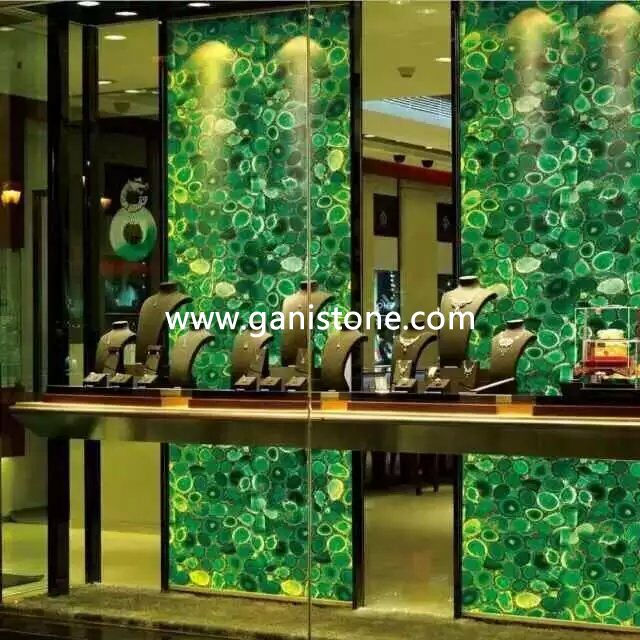 Backlit Green Agate Panel for Jewery Store Decoration