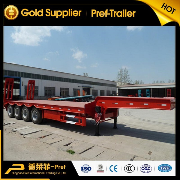 4 axles 80 tons low bed semi trailer for heavy equipment transportation
