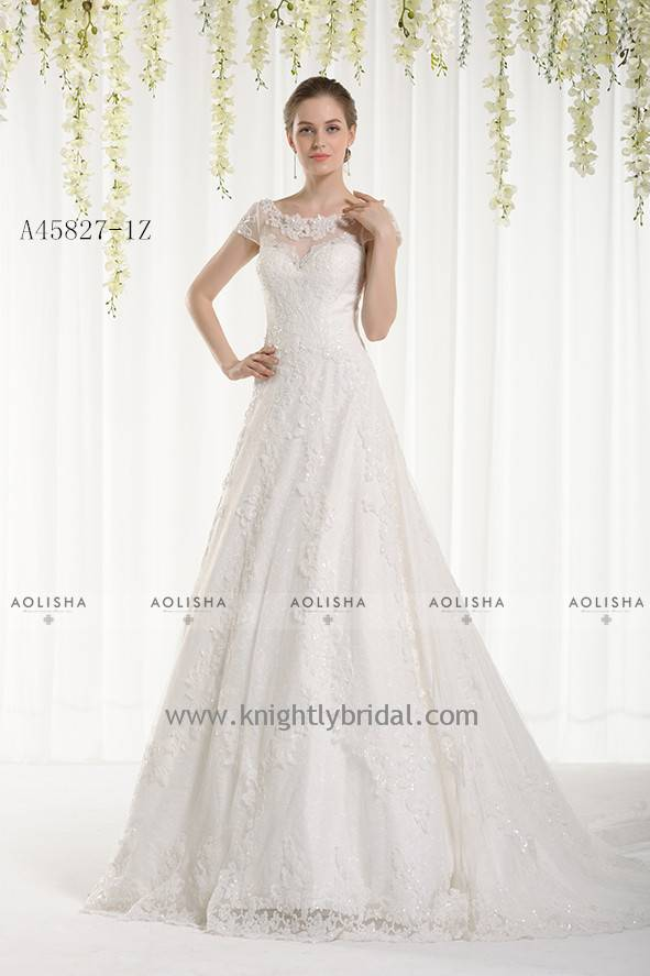 Short Sleeve Scoop Neck Lace A-Line Gown WEDDING DRESS