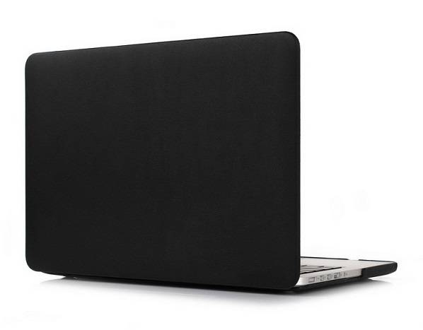 PU leather wrapped PC cover for Macbook laptop-Black color