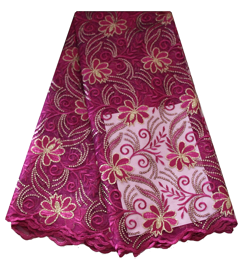 popular african hot selling squenced tulle lace fabric