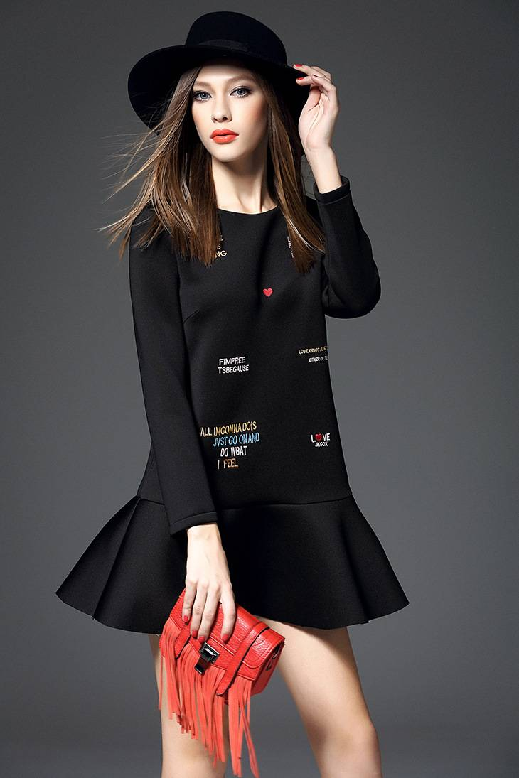 2015 European hot sale the printted pleated dress for ladies