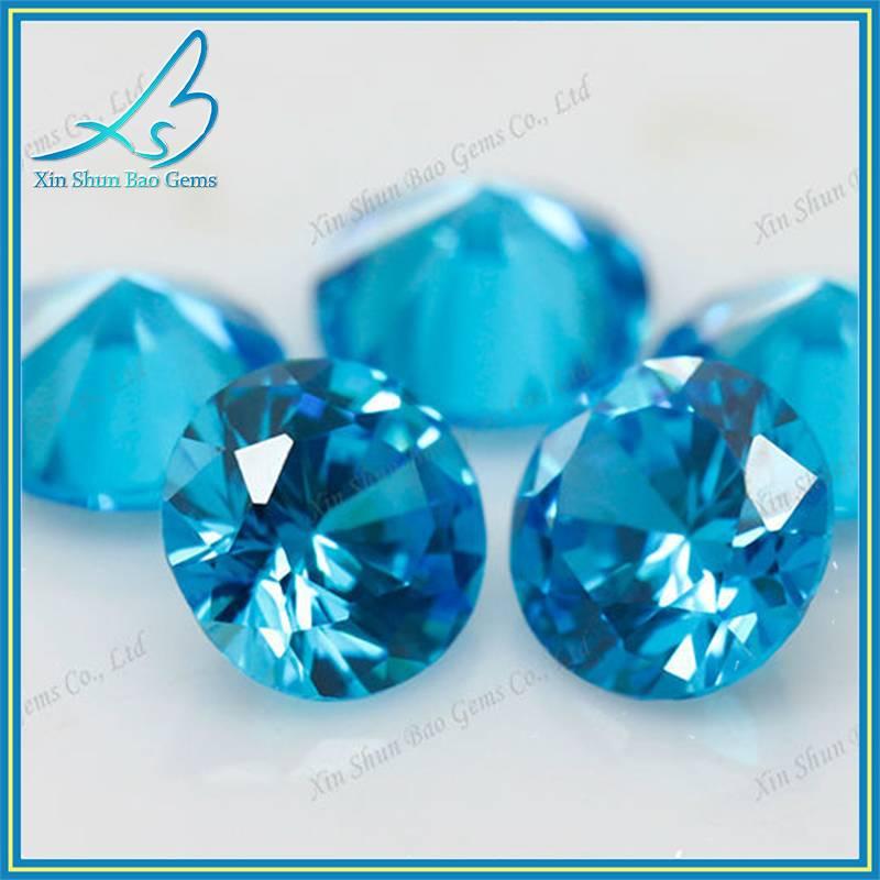 Wholesale 1mm 2mm 3mm Round Brilliant Cut Synthetic Aquamarine/Aquamarine Stone