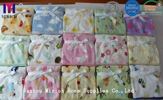 Lovely Plain Soft Knitted Flannel Fleece Printed Baby Receiving Throw/Blankets