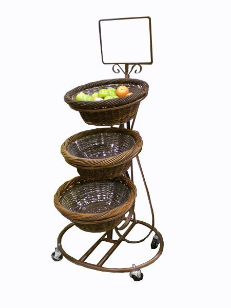 Display Stand, Mobile Merchandiser, Wicker Baskets Fruit Display