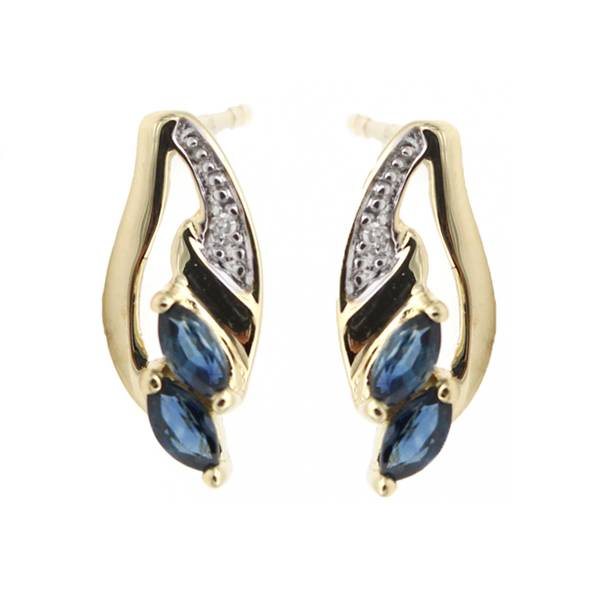 Sapphire and Diamond Earring in 9k Yellow Gold