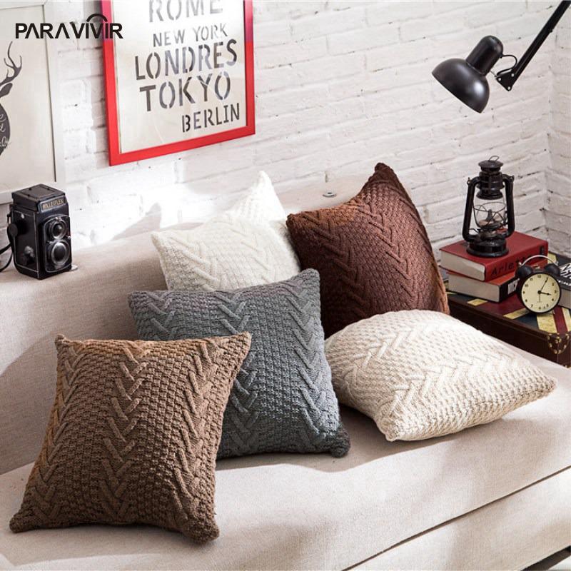 Fashion Home Decor Cushion Cover Knitted Woolen Geometric Shape Decorative Pillows For Sofa Chair