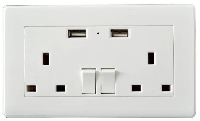 USB electronic wall outlet socket 5V/2.1A 230V with Dual USB port wall outlet socket