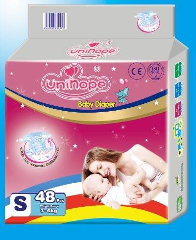 Disposable baby diaper, made of PE film with PP tape