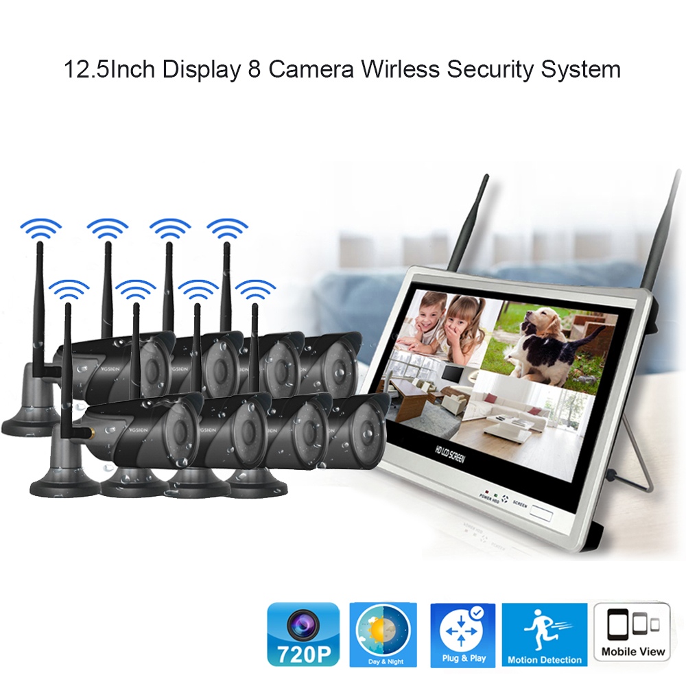12.5 inch Disdplay 8 camera Wireless Security system New design IP66 waterproof camera