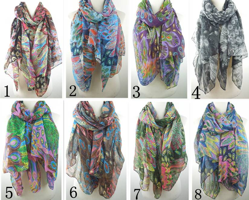 Beautiful peacock feather print women's spring scarf 100*180cm PG920