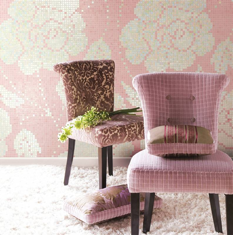 Winter Flowers Pink JY-P-W07 Bisazza Flower Pattern Iridescent Pink Glass Mosaic Bedroom Wall Tiles