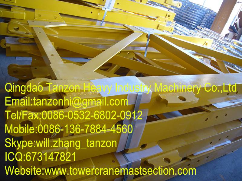 Split Mast , General Tower Crane Standard Section F0 / 23C , Steel Plate Sections