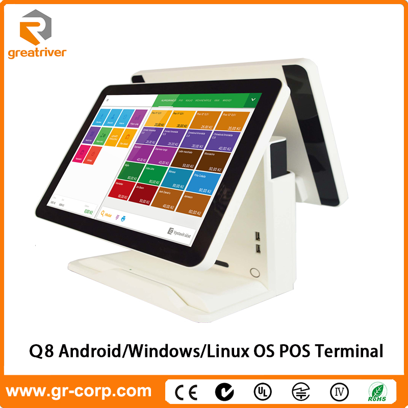 GreatRiver Q8 15'' Android Full Flat Touch Screen POS System with Dual/Single Screen Option