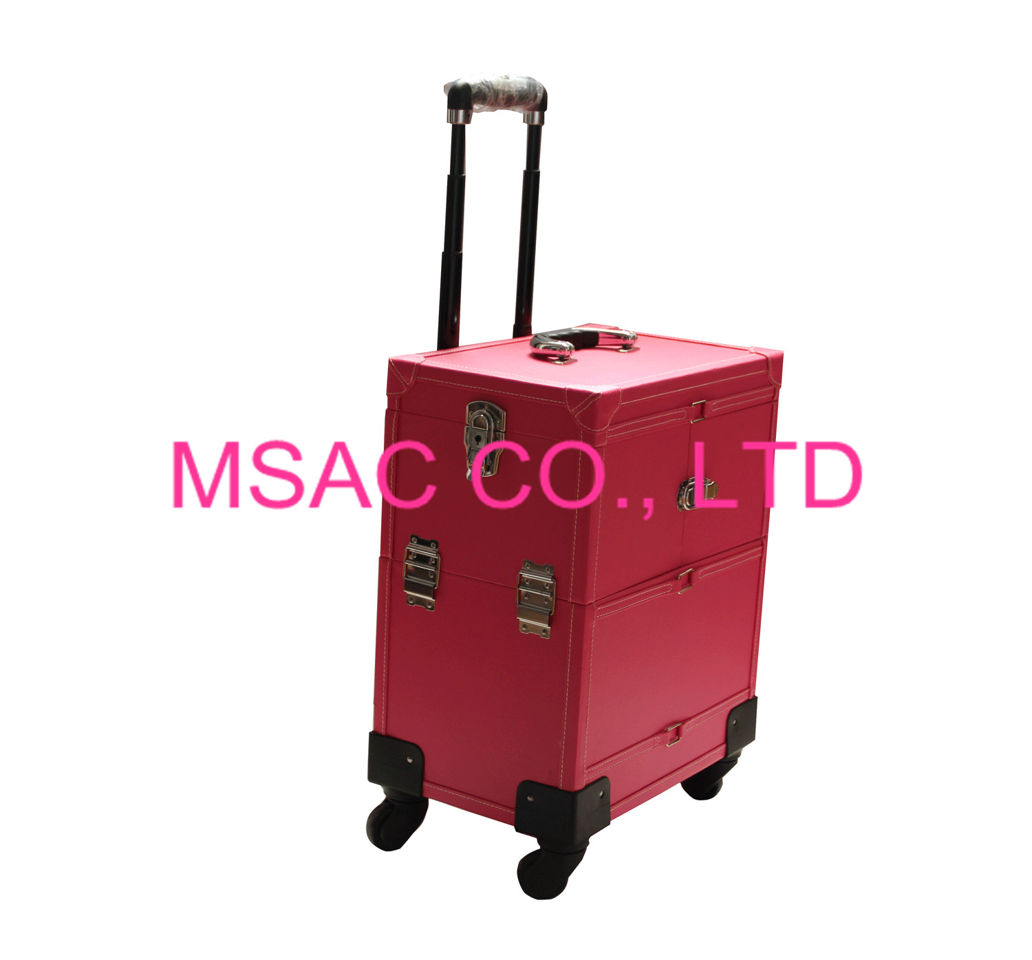 Pink leather makeup trolley case with wheels