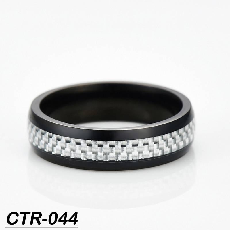 Hot black ring tungsten tungsten carbide finger ring inlay white carbon fiber