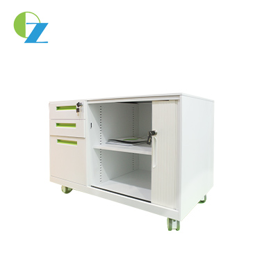 Tambour door Steel Mobile Caddy, Storage office mobile cabinet, small pedestal filing cabinet
