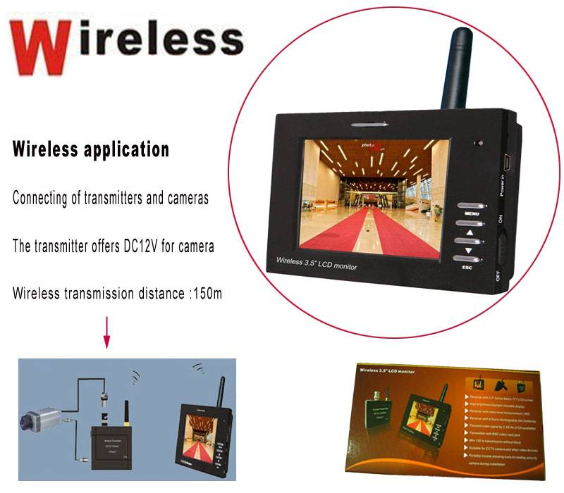 Wireless 3.5 inch cctv test monitor with 150m transmission without block