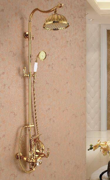 Luxury Crystal swan seires triple handle titanium gold bath rain shower faucet