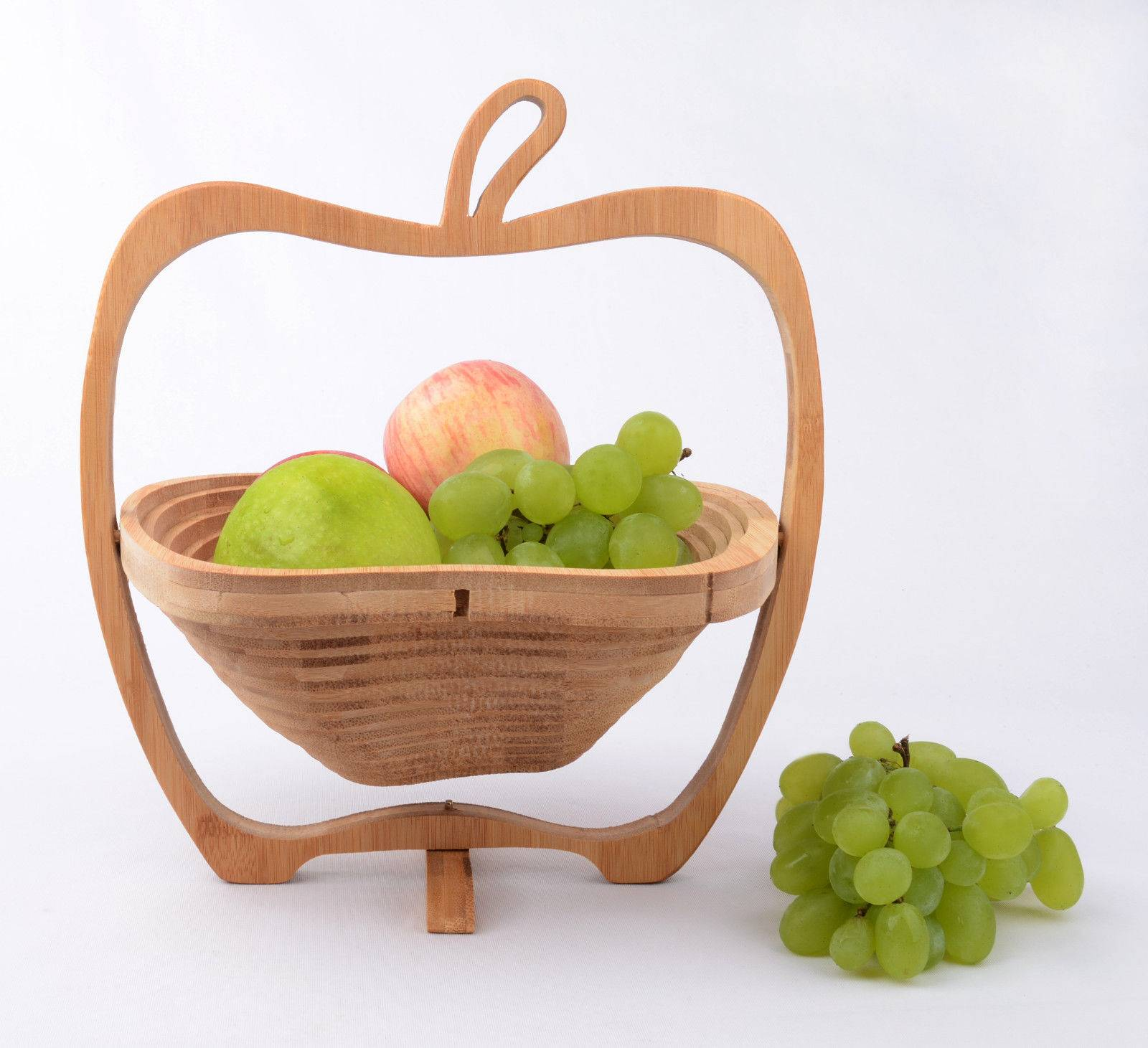 Apple Shaped Bamboo Wooden Foldable Collapsible Fruit and Egg Bread Basket