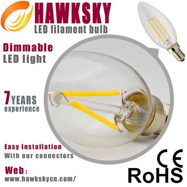 2014 high power e14  led filament light 2w