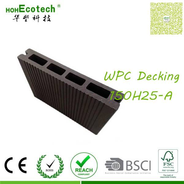 UV-resistant E1 wood board outdoor patio grooved decking
