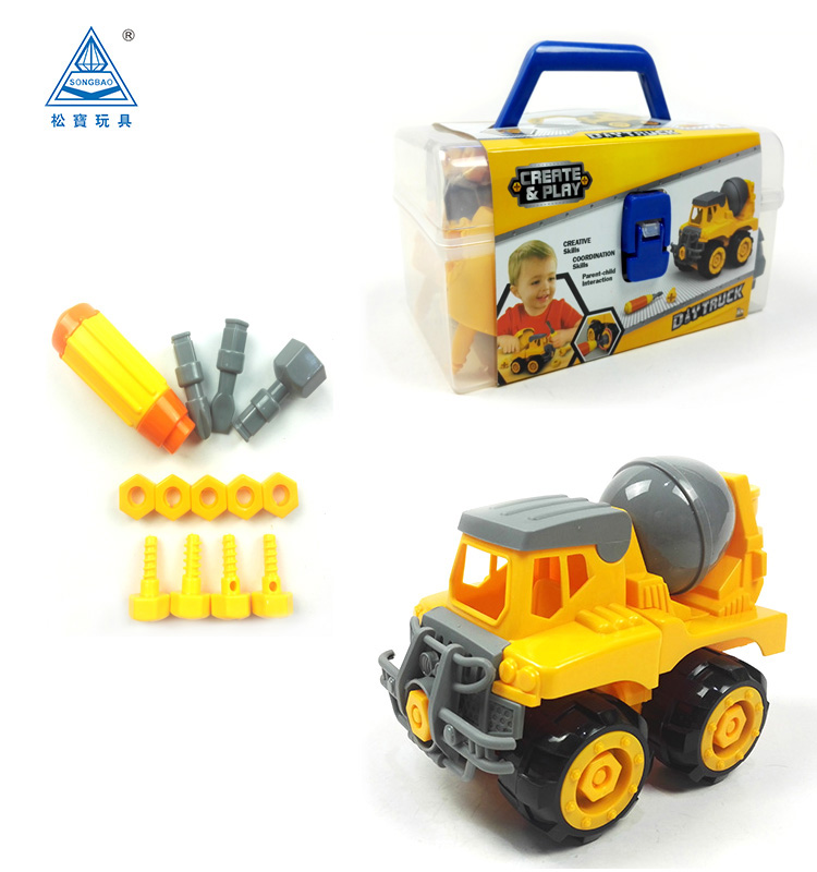 Soba New toys assembly concrete mixer truck toys with tool